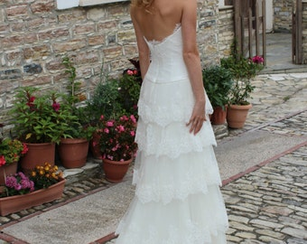 Bohemian Strapless Wedding Dress Lace Wedding dress Made to order Ivory or White