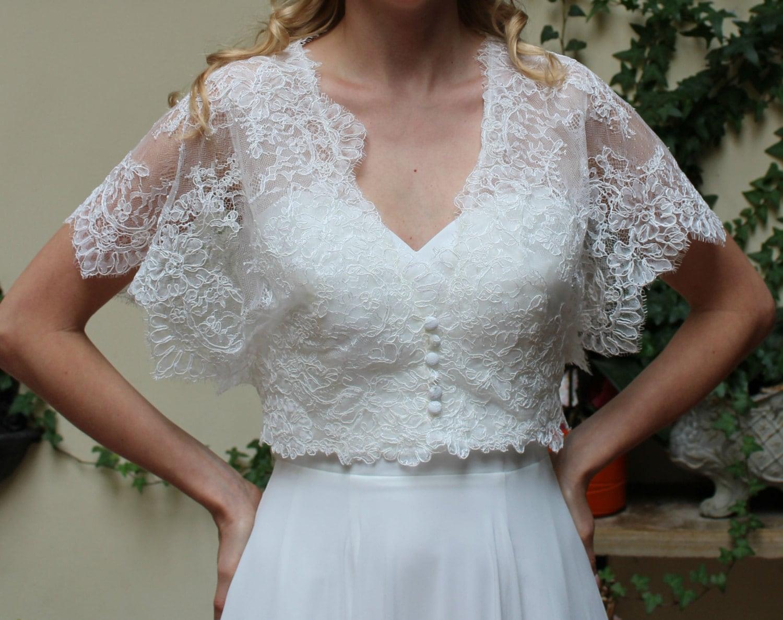 Wedding lace bolero jacket bridal short sleeve romantic for Lace shrugs for wedding dresses