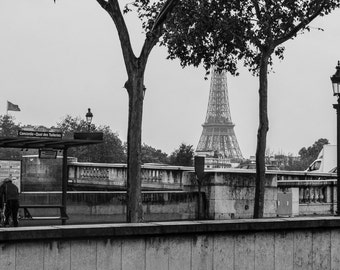 Eiffel Tower Photo Print: Paris, France, Europe, Vacation, Travel, Black and White, B&W, 4x6, 5x7, 8x10, Snapshot, Polaroid, EF1