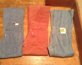 Levi 663 deadstock vintage bellbottom jeans made USA new old cotton pick 1 pants 30x30 33x32 31x34 28x32 1970's