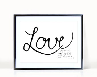 Love is Patient PRINT of an Original Hand Lettered Drawing 1 Corinthians 13:4