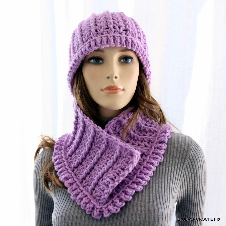 womens crochet hat scarf crochet by crochetedbylyubava