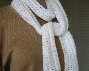 Sparkling White Scarf; Super Soft Crocheted Scarf; Winter White