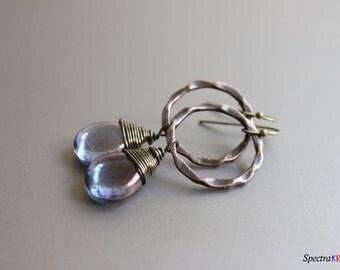 Wire Wrapped Teardrops - Metal and Glass - Rustic Earrings - Amethyst Teardrop Beads