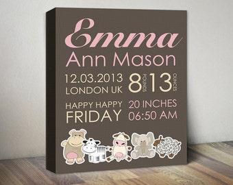 Baby Birth Announcement Canvas, Baby Girl Announcement, Birth Stats, Newborn Print, Baby Personalized Gift, Animal Birth Announcement Canvas