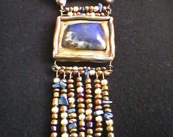 Lapis Lazuli  Picturebox beaded necklace
