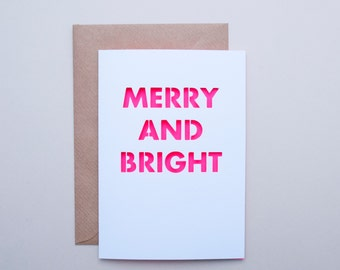 Neon Christmas Card — Merry and Bright —  Papercut Holiday greetings Card