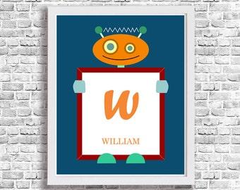 Robot Letter Nursery Art Prints Monogram Printable Custom Decor Kids Poster Chidren Personalized Name