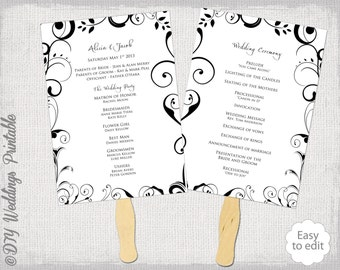 "Wedding program fan template ""Scroll"" black and white DIY order of ceremony printable program wedding programs download"