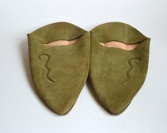 Vintage Handmade Moroccan Babouche   UNWORN Real Leather Nubuck Suede Slippers Women's Men's