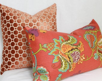 """Red floral lumbar pillow cover. 14"""" x 26"""" lumbar cover."""