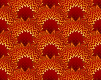 Paradise - Orange Geo Blooms Bargello - In The Beginning (PAR6JYB-1) Fabric Yardage