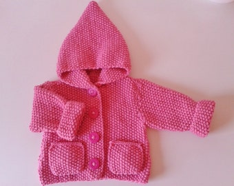 Jacket with hood baby birth in 24 months knit pink hand with pockets and buttons fimo dough