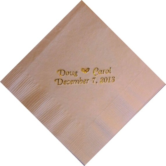 Personalized Napkins Wedding Rings Entwined By PersonalKitten