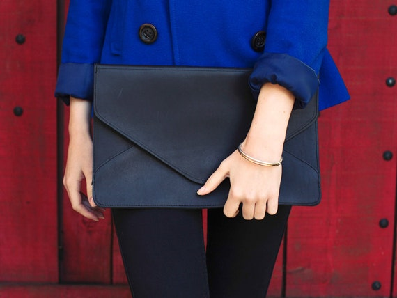 SALE / Leather Envelope Clutch / Black Leather Clutch / Oversize Clutch {Telegram Clutch : Black}