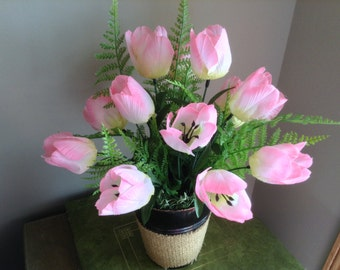 Tulip Flower Arrangement, Tulip Floral, Tabletop Floral Decor, Pink Flower Arrangement, Spring Flowers, Spring Flower Decor