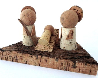 FREE SHIPPING - Cork Nativity Scene - Christmas Manger - Eco-Friendly Vegan Nativity Creche