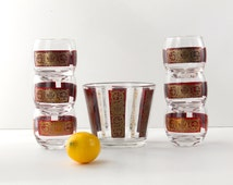 Stylish Set of Six Roly Poly Glasses with Ice Bucket, Bowl, Culver, Hollywood Recency Style, Brocate, Red and Gold, HA or AH Initials