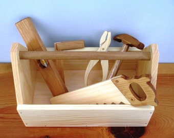 Wooden Tool Box with Pretend Wood Tools