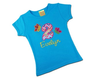Girl's Birthday Shirt with Glitter Butterflies, Chevron Number and Embroidered Name