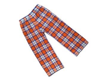 Boy's Plaid Pants, Tartan Trousers - Orange, Blue, White - P2