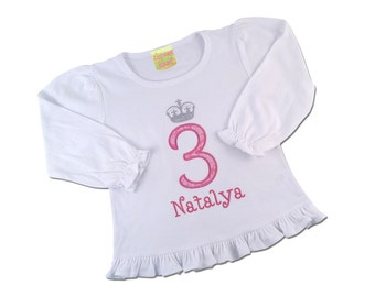 Princess Birthday Shirt with Princess Crown Number and Embroidered Name