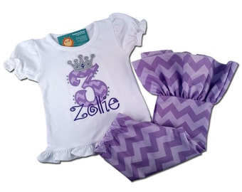 Girl's Purple Birthday Outfit with Princess Crown Shirt with Chevron Ruffle Bottom Pants - F39