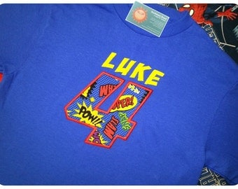 Superhero Blue Birthday Shirt with Action Number and Embroidered Name