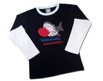 Boy's Valentine Shirt - Shark 'Love Bites' with Embroidered Name