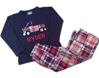 Boy's Truck Shirt with Matching Plaid Pants - M33