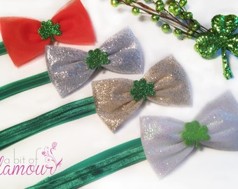 St.Patrick's Day Hair Bows / Orange, Silver, Gold or White Sparkly Bows with Green Clover / Headband or Clip / Made in USA