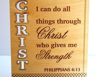 Bible verse gift etsy favorite custom bible verse gift for christians philippians 4 13 gift i can do negle Images
