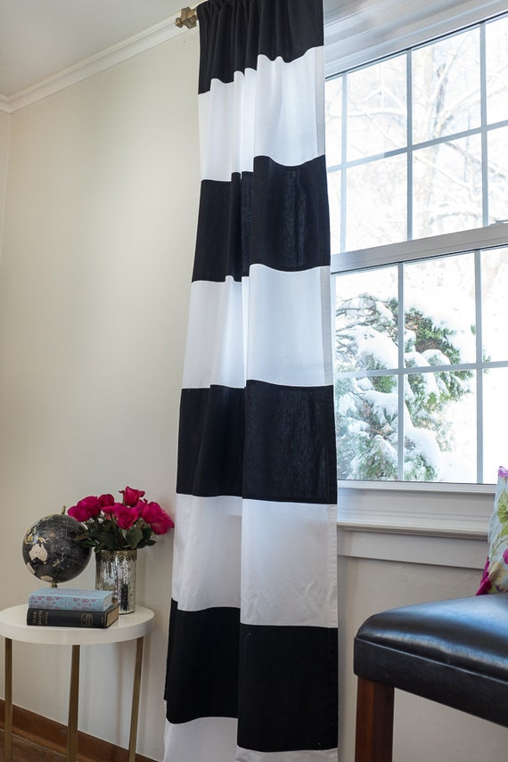 Items similar to organic black and white striped curtain - Rideau noir et blanc design ...