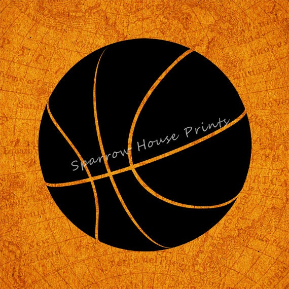 Items similar to basketball print antique wall art sports for Vintage basketball wall art