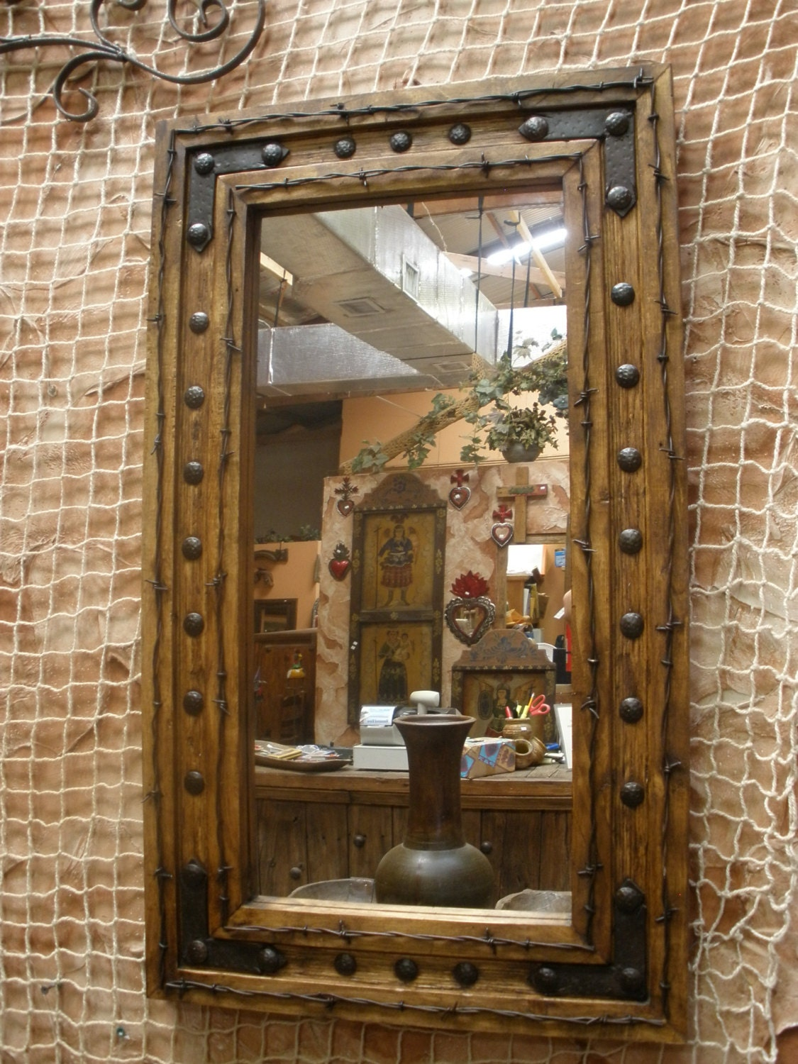 Rancho adobe rustic mirror 20x34 by ranchoadobe on etsy for Rustic mirror