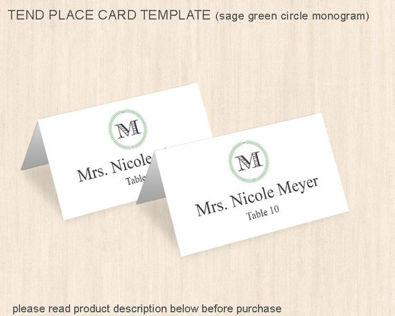 items similar to place card template wedding table tent place card place names table