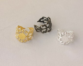 5pcs Antique Bronze vintage victoria style Ring Filigree , Brass  Adjustable Filigree Rings With 8mm Pad RB009a