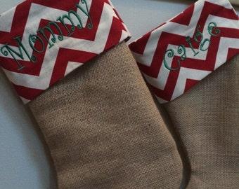 Burlap and or chevron Christmas stockings