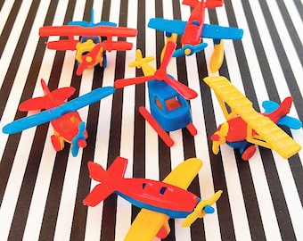 Mini Airplanes Cake Toppers, 6 Plastic Planes, Pilot Birthday Cake, Mini Flying Machines, Aircraft, Helicopter Toy