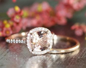 Pink Peach Morganite Halo Diamond Wedding Bridal Ring Set in 14k Rose Gold 8x8mm Cushion Morganite Ring and Plain Wedding Band