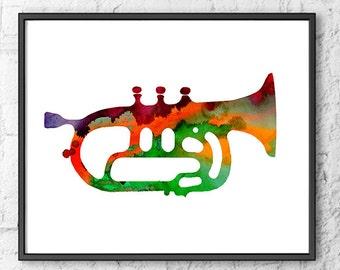 Trumpet Bar Art Print, Jazz Art, Music Wall Decor Rock Music Home Decor Wall Art - 375