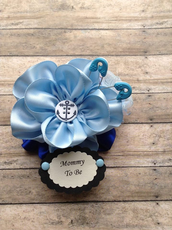 baby boy mommy to be corsage nautical bluebaby shower mommy