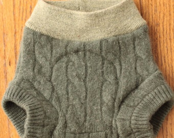 Upcycled Wool Shorties, 6-12 Months, Greens with Soaker, Cashmere