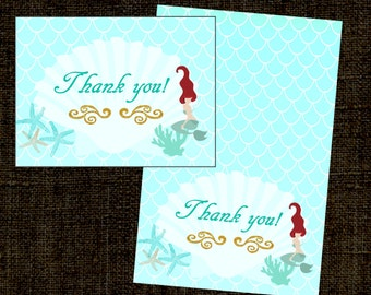 Mermaid Thank you card, gold, glitter, under the sea-Evelyn Collection