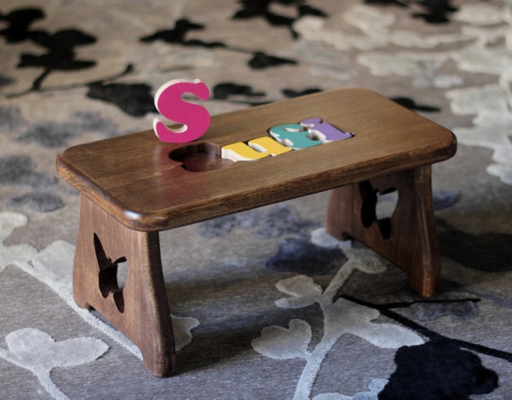 Personalized Puzzle Step Stool Pick Your Finish Amp Design