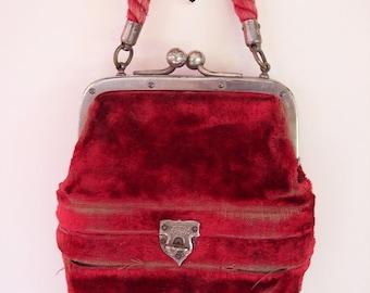 OPERA BAG w/BINOCULARS two compartments, velvet, Mother-of-Pearl binoculars