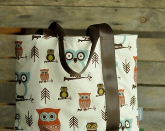 Owl tote bag, diaper bag, Seat belt strap, Market bag, carry on, book bag, multi-purpose