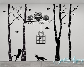 """96"""" x 106 """" Birch tree birds cage owl cat design Vinyl DECAL Wall art Wall stickers No background large size home decor bedroom livingroom"""