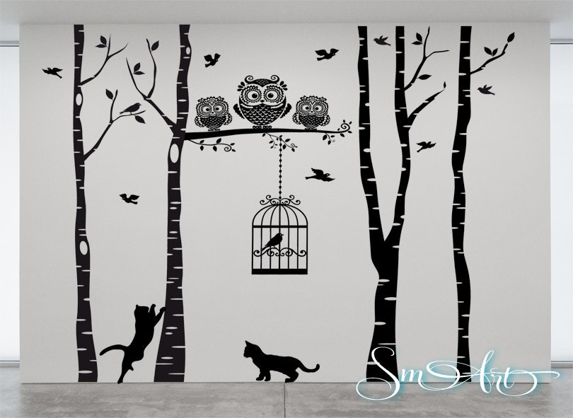 X Birch Tree Birds Cage Owl Cat Design Vinyl DECAL Wall Art - Vinyl wall decals birch tree
