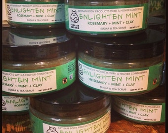 Enlighten Mint Sugar Scrub. Rosemary Mint. Sugar Scrub. Organic Coconut Oil. Organic Shea Butter. Made in Utah.
